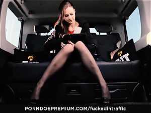 penetrated IN TRAFFIC - Footjob and car romp with Tina Kay