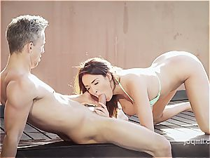 big-boobed wonder stunner Anissa rides a man meat by the pool