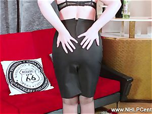 scorching honey peels off black underwear strokes in nylon garter