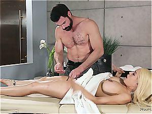 Married platinum-blonde hottie getting super-naughty by a beefy massagist