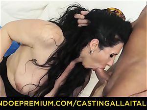 casting ALLA ITALIANA dark haired nymphomaniac tough buttfuck sex