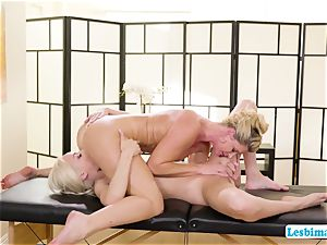 Elsa and India adores hot 69 pose on the rubdown table