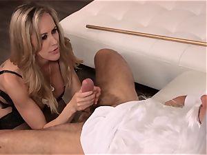 Brandi love pummels a man in classy dress