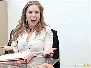 Office pulverize with huge-titted chief Lena Paul