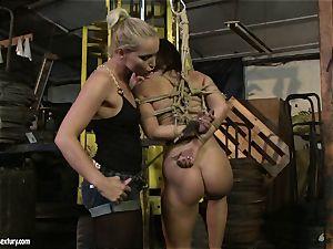 Kathia Nobili spanking the booty of super hot girl with whip