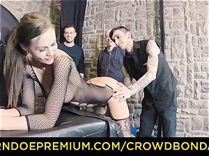 CROWD restrain bondage - extraordinary domination & submission boink wheel with Tina Kay