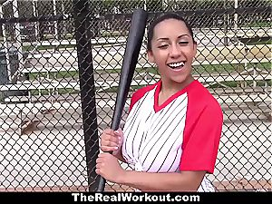 huge-titted Latina likes to play with sack