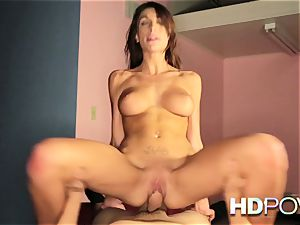 HD pov red-hot black-haired with yam-sized jugs likes to bounce shaft
