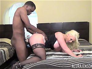 kinky Alura Jenson gets a phat ebony man-meat slammed in her tight muff