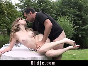 French unshaved cunt smashing an elderly cock