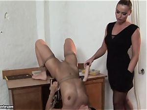 Kathia Nobili and C J made to do dildo deep throating