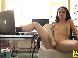 Clitrubbing uk cockslut toying with magic wand