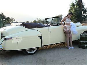 Lana Rhoades antique car poon play