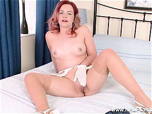 Retro honey peels off off her white undies for cunt have fun