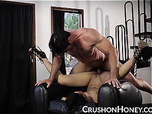 CrushGirls - petite babe Gold eyes covered and plowed