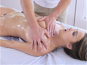 lubed up brown-haired Dillion Harper massaged and torn up with yam-sized beef whistle
