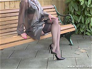 nasty mummy drains in public in nylons garters stilettos
