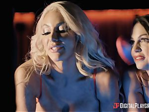 Monster salami for 2 lusty longing stunners Abigail Mac and Nicolette Shea
