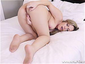 Latina mummy in a sizzling pantyhose mega-bitch frigging her fuckbox